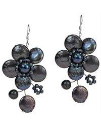 Aeravida - Black Lace Sakura Cultured Freshwater Pearl Flower .925 Silver Earrings - Lyst