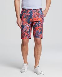 Paul Smith - Red Palm Print Shorts for Men - Lyst