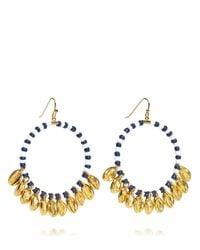 Tory Burch | Blue Mikah Beaded Hoop Earring | Lyst