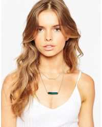 ASOS | Metallic Semi Precious Bar Multirow Necklace | Lyst