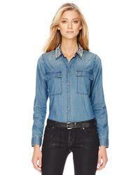 Michael Kors   Blue Michael Crystal Collar Denim Shirt   Lyst