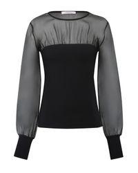 Dorothee Schumacher - Black Playful Silhouettes Shirt, O-neck, 1/1 - Lyst