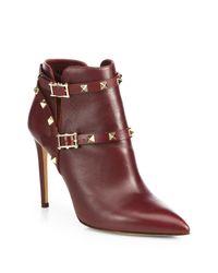 Valentino | Purple Rockstud Leather Ankle Boots | Lyst