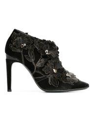 Alberta Ferretti - Gray Flower Appliqué Ankle Boots - Lyst
