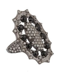 Bavna - Sterling Silver Ring With Black Spinel And Pave Diamond - Lyst
