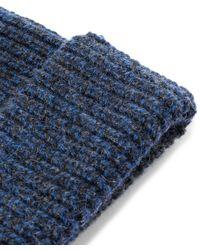 Lanvin - Blue Navy Melange Beanie Hat for Men - Lyst