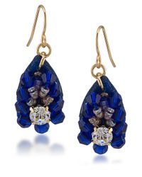 Carolee | Blue Petals Beaded Flower Drop Earrings | Lyst