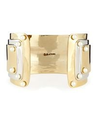 St. John - Metallic Two Tone Cuff With Pearly Studs - Lyst