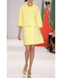 Carolina Herrera - Yellow Techno Pique Collar Jacket in Sun - Lyst