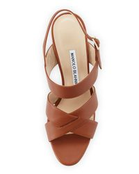 Manolo Blahnik - Brown Gorham Leather Slingback Sandal - Lyst