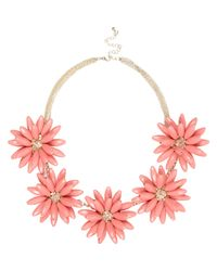 River Island - Orange Coral 3d Flower Short Statement Necklace - Lyst