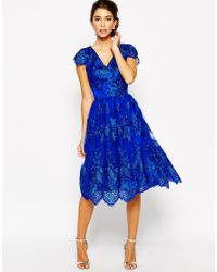 Chi Chi London | Blue Wrap Front Full Midi Prom Dress In Premium Metallic Lace | Lyst