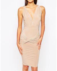 Club L - Slinky Jersey Knot Body-conscious Dress - Pink - Lyst
