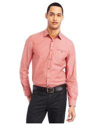 Kenneth Cole Reaction - Orange Iridescent Check Shirt for Men - Lyst