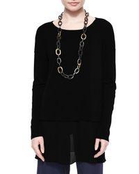 Eileen Fisher - Black Silk Jersey Layered Boxy Tunic - Lyst