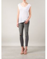 Mother | Gray Ripped Skinny Jeans | Lyst