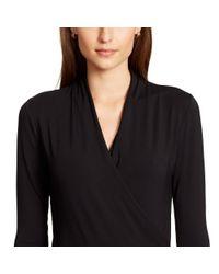 Ralph Lauren - Black Faux-wrap Jersey Top - Lyst
