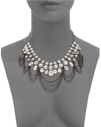 ABS By Allen Schwartz | Black Crystal Hematite Chain Bib Necklace | Lyst