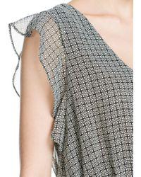 Mango - Gray Ruffled Chiffon Dress - Lyst
