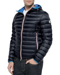 e8094c5aa50f Lyst - Moncler Athenes Hooded Puffer Jacket in Blue for Men