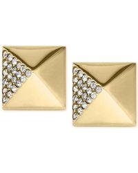 Michael Kors | Metallic Crystal Pavé Pyramid Stud Earrings | Lyst