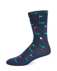 Hot Sox | Blue Golf Tee Knit Socks for Men | Lyst