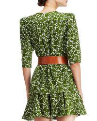 Michael Kors | Green Floral-Print Silk Top | Lyst