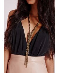 Missguided - Metallic Oversized Tie Tassel Chain Necklace Gold - Lyst