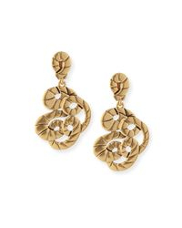 Oscar de la Renta | Metallic Golden Swirl Clip-On Drop Earrings | Lyst