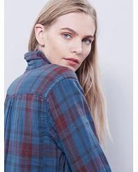 Free People - Blue Campfire Shirt Dress - Lyst