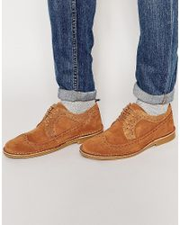 SELECTED | Blue Royce Desert Brogue Shoes - Brown for Men | Lyst