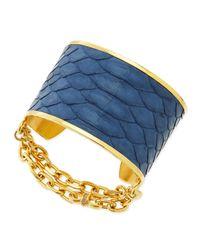 Paige Novick - Blue 14K Gold Plate & Python Cuff - Lyst