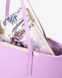 Ted Baker | Purple Large Crosshatch Leather Shopper Bag | Lyst