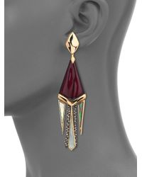 Alexis Bittar | Metallic Pop Surrealist Lucite, Black Mother-of-pearl & Crystal Spike Clip-on Chandelier Earrings | Lyst