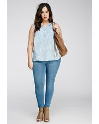 Forever 21 - Blue Plus Size Faded Chambray Shirt - Lyst