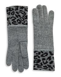 Portolano | Gray Leopord Print Gloves | Lyst
