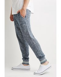 Forever 21 - Blue Marled Varsity-stripe Sweatpants for Men - Lyst