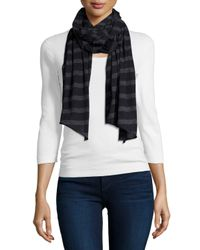 Neiman Marcus | Blue Striped Cashmere-blend Scarf | Lyst