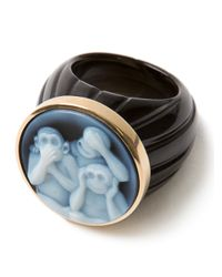 Amedeo - Blue Three Monkey Agate Ring - Lyst