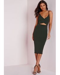 Missguided - Natural Scuba Strappy Cut Out Midi Dress Khaki - Lyst