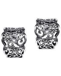 Aeravida | Metallic Gorgeous Floral Vines Half Hoop .925 Sterling Silver Post Earrings | Lyst