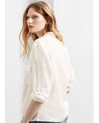 Violeta by Mango - White Pocket Linen-blend Blouse - Lyst