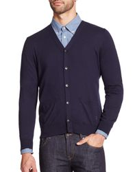 Façonnable | Blue Cotton & Cashmere Cardigan for Men | Lyst