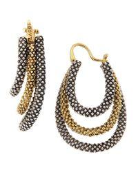 Lagos - Metallic Sterling Silver 18 Karat Gold Tiered Hoop Earrings - Lyst