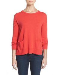 Halogen - Red Drop Shoulder Pocket Sweater - Lyst