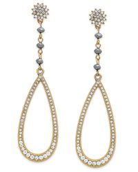 INC International Concepts - Metallic Gold-tone Gray Bead Pavé Teardrop Earrings - Lyst