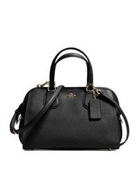 COACH - Black Nolita Mini Textured Leather Satchel - Lyst