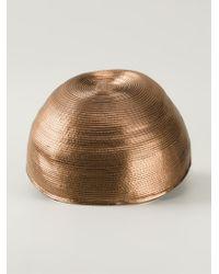 Giorgio Armani - Metallic 'Copper Rafia' Cap - Lyst