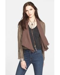 Free People | Brown Drape Front Coated Jacket | Lyst
