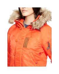 Polo Ralph Lauren - Orange Hooded Down Bomber Jacket - Lyst